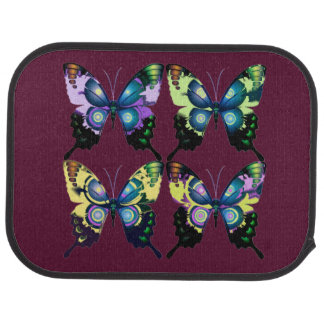 Aqua, Pink, and Yellow -  Elegant Butterflies Car Mat