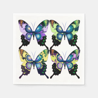 Aqua, Pink, and Yellow -  Elegant Butterflies Disposable Napkin