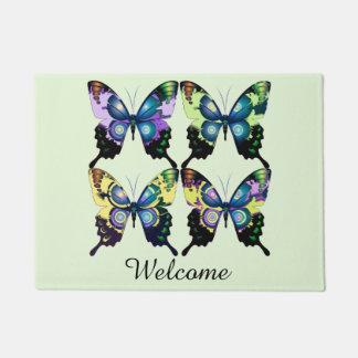 Aqua, Pink, and Yellow -  Elegant Butterflies Doormat