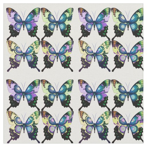 Aqua, Pink, and Yellow - Elegant Butterflies Fabric