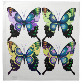 Aqua, Pink, and Yellow -  Elegant Butterflies Napkin