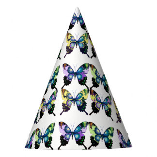 Aqua, Pink, and Yellow -  Elegant Butterflies Party Hat