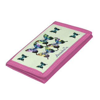 Aqua, Pink, and Yellow -  Elegant Butterflies Trifold Wallets