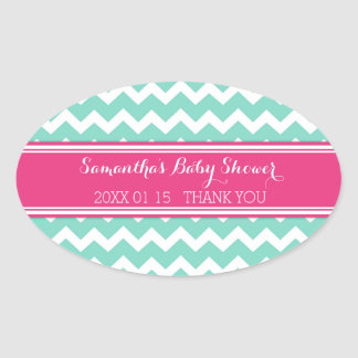 Aqua Pink Chevron Baby Shower Favor Stickers