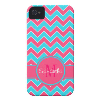 Aqua & Pink Chevron Pattern Custom Monogram iPhone 4 Covers