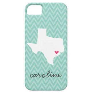 Aqua & Pink Cute Texas Love Chevron Monogram Barely There iPhone 5 Case