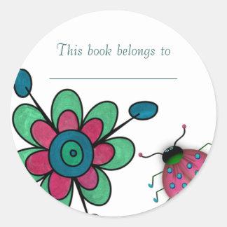 Aqua & Pink Fun Flowers Round Sticker