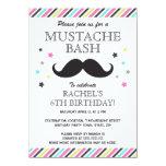 Aqua pink green stripes moustache birthday party