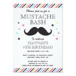 Aqua pink green stripes moustache birthday party personalised invites
