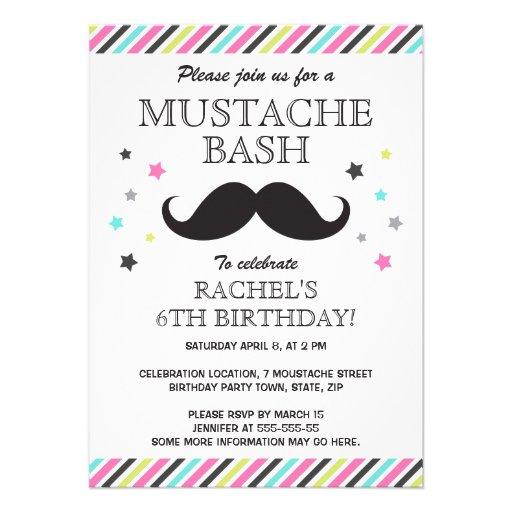 Aqua pink green stripes mustache birthday party personalized invite