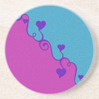 Aqua / Pink hearts coaster, customize Coaster