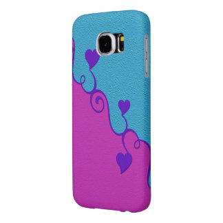 Aqua / Pink hearts customizable cases
