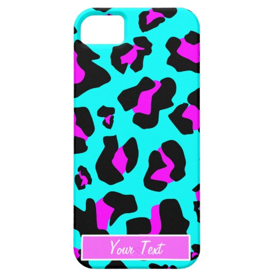 Aqua/Pink Leopard Print - Personalise Barely There iPhone 5 Case