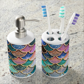 Aqua Pink Mermaid Glitter Scales- Mermaid Scales Bathroom Set