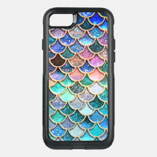 Aqua Pink Mermaid Glitter Scales- Mermaid Scales OtterBox Commuter iPhone 8/7 Case
