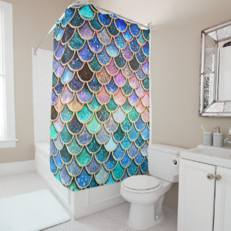 Aqua Pink Mermaid Glitter Scales- Mermaid Scales Shower Curtain