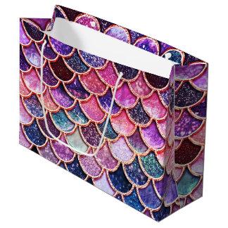 Aqua Pink Mermaid Glitter Scales- Mermaidscales Large Gift Bag