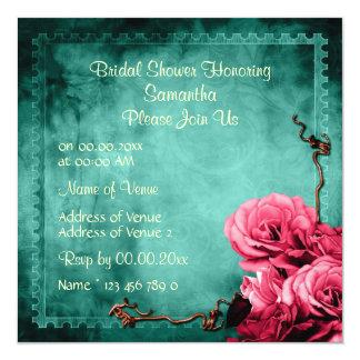 Aqua pink vintage rose bridal 13 cm x 13 cm square invitation card