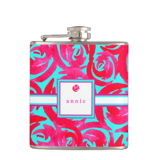 Aqua & Pink Watercolor Roses Flask