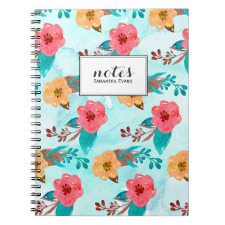 Aqua Pink Yellow Floral Watercolor Personalized Notebooks