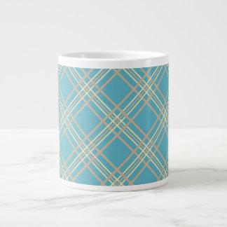 Aqua Plaid Jumbo Mug