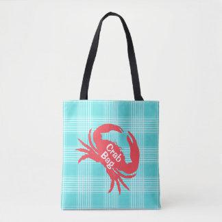 Aqua Plaid with Crab Tote Bag
