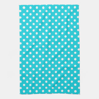 Aqua Polka Dot Pattern Kitchen Towels