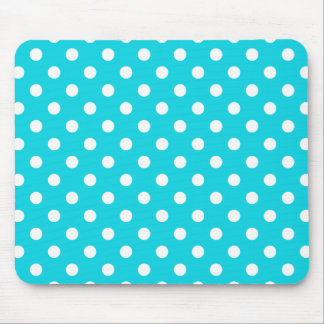 Aqua Polka Dot Pattern Mouse Mat