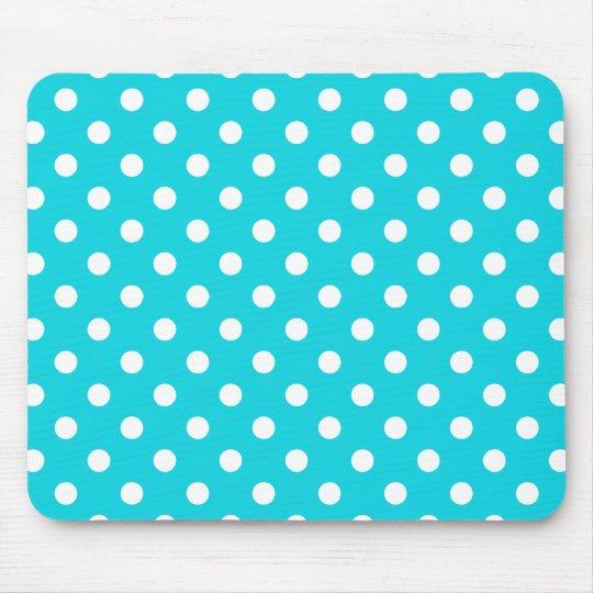 Aqua Polka Dot Pattern Mouse Mat