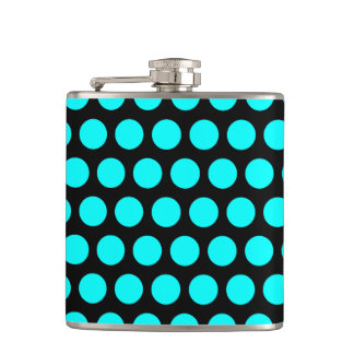 Aqua Polka Dots Hip Flask