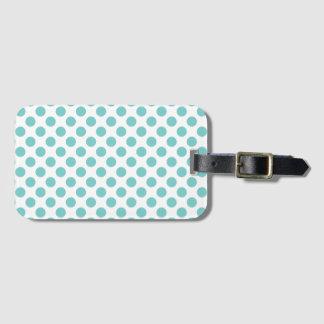 Aqua Polka Dots Luggage Tag