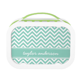 Aqua Preppy Chevron Monogram Lunch Box