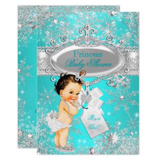 Aqua Princess Winter Wonderland Baby Shower Brown Card