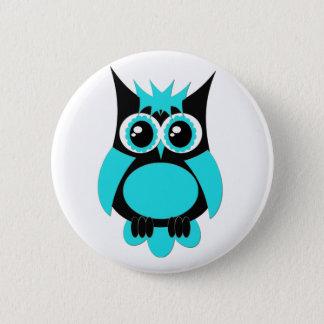 Aqua Punk Owl Button