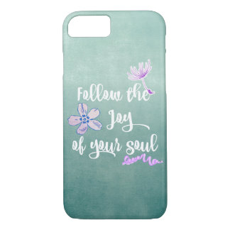 Aqua Purple with Joy Quote iPhone 7 Case