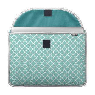 Aqua Quatrefoil Clover Pattern Sleeve For MacBooks