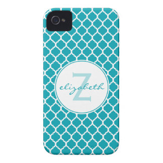Aqua Quatrefoil Monogram iPhone 4 Case-Mate Case