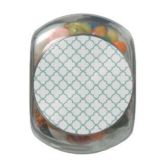 Aqua Quatrefoil Pattern Glass Jars