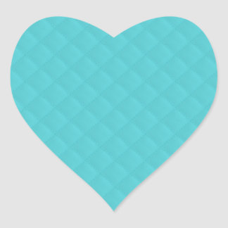 Aqua Quilted Leather Heart Sticker