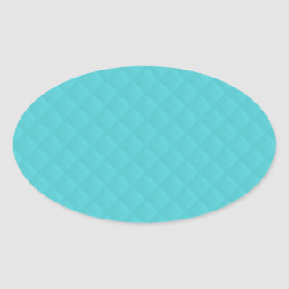 Aqua Quilted Leather Wedding Oval Sticker