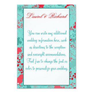 Aqua & Red Floral Wedding Reception 9 Cm X 13 Cm Invitation Card