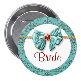 """Aqua red gold damask """"bridal buttons"""" 7.5 cm round badge"""