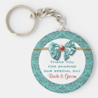 "Aqua red gold damask ""wedding favours"" basic round button key ring"
