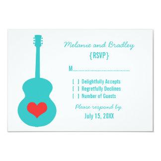 "Aqua/Red Guitar Heart Response Card 3.5"" X 5"" Invitation Card"