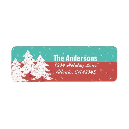 Aqua Red Retro Christmas Tree Return Address Return Address Label