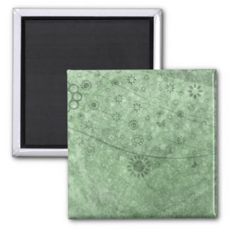 Aqua Retro Flowers and Butterflies Abstract Square Magnet