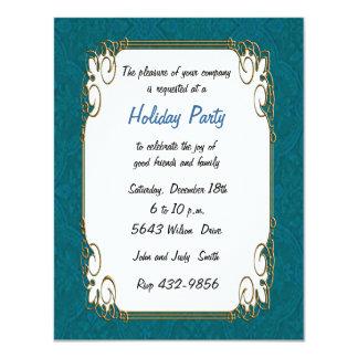 "Aqua Retro Holiday Invitation 4.25"" X 5.5"" Invitation Card"