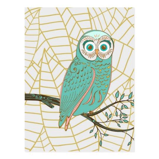 Aqua Retro Owl Design Postcard