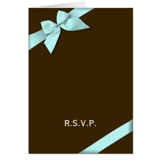 Aqua Ribbon RSVP Note Card