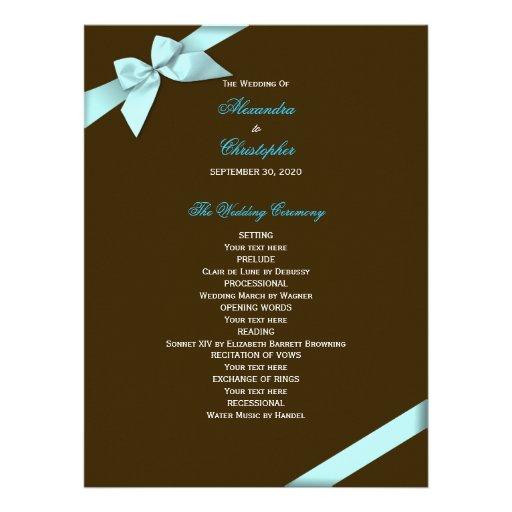 Aqua Ribbon Wedding Program Personalized Invitation